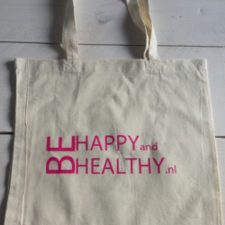 Katoenen tas Be Happy and Healthy